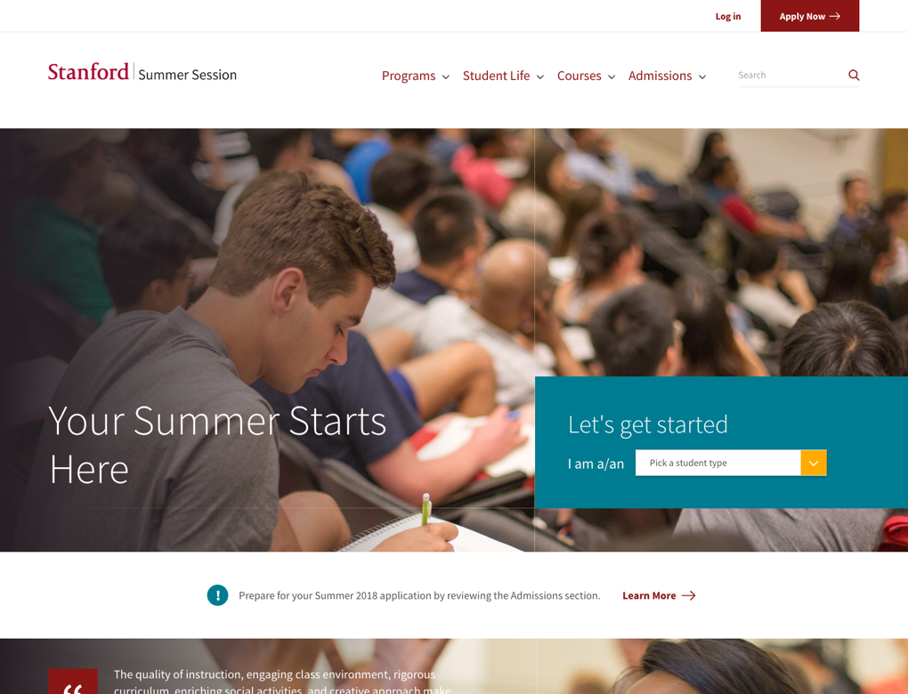 A screenshot of the Stanford Summer Session home page
