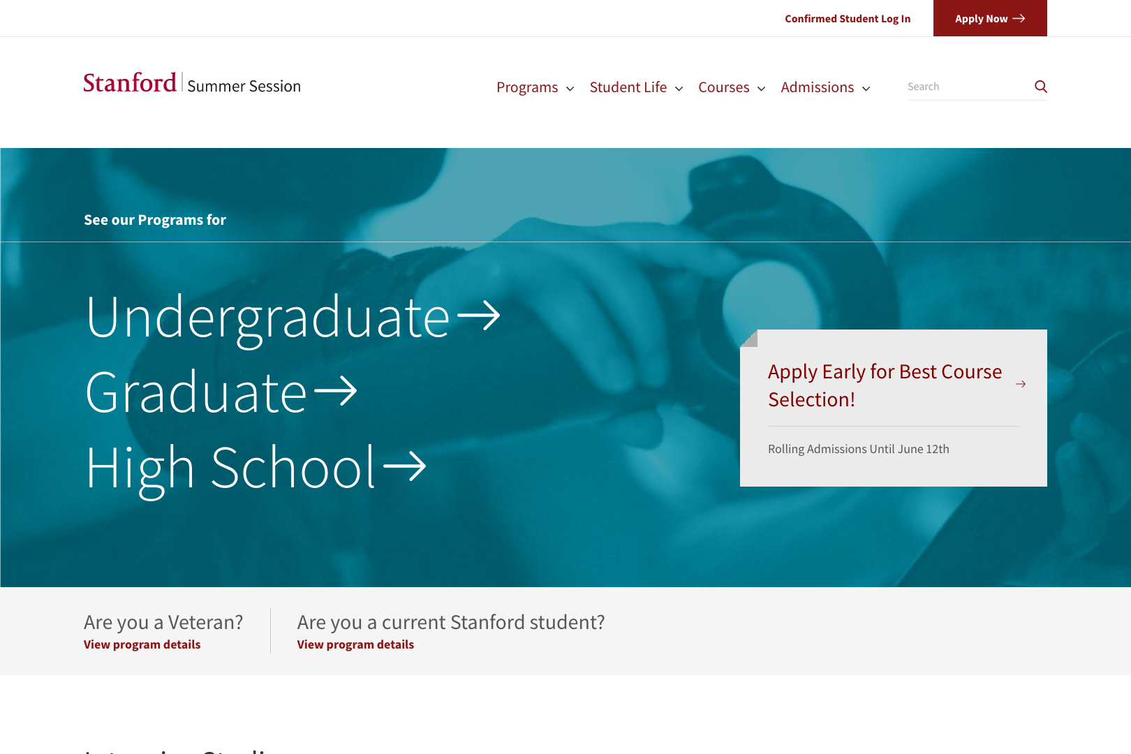A screenshot of the Stanford Summer Session Programs page