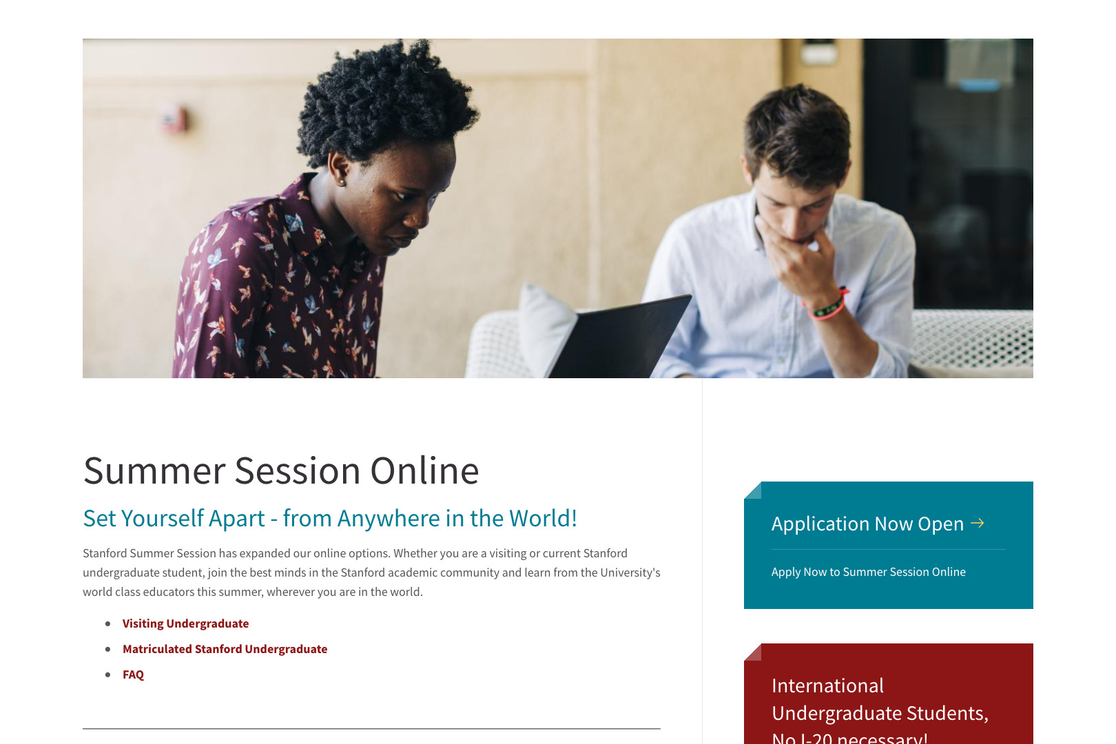 A screenshot of the Stanford Summer Session Online Programs page