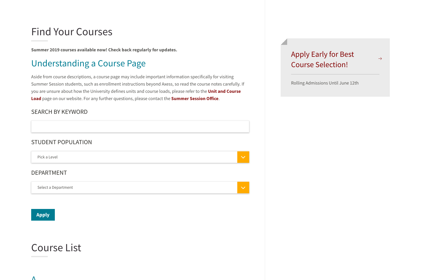 A screenshot of the Stanford Summer Session Courses page