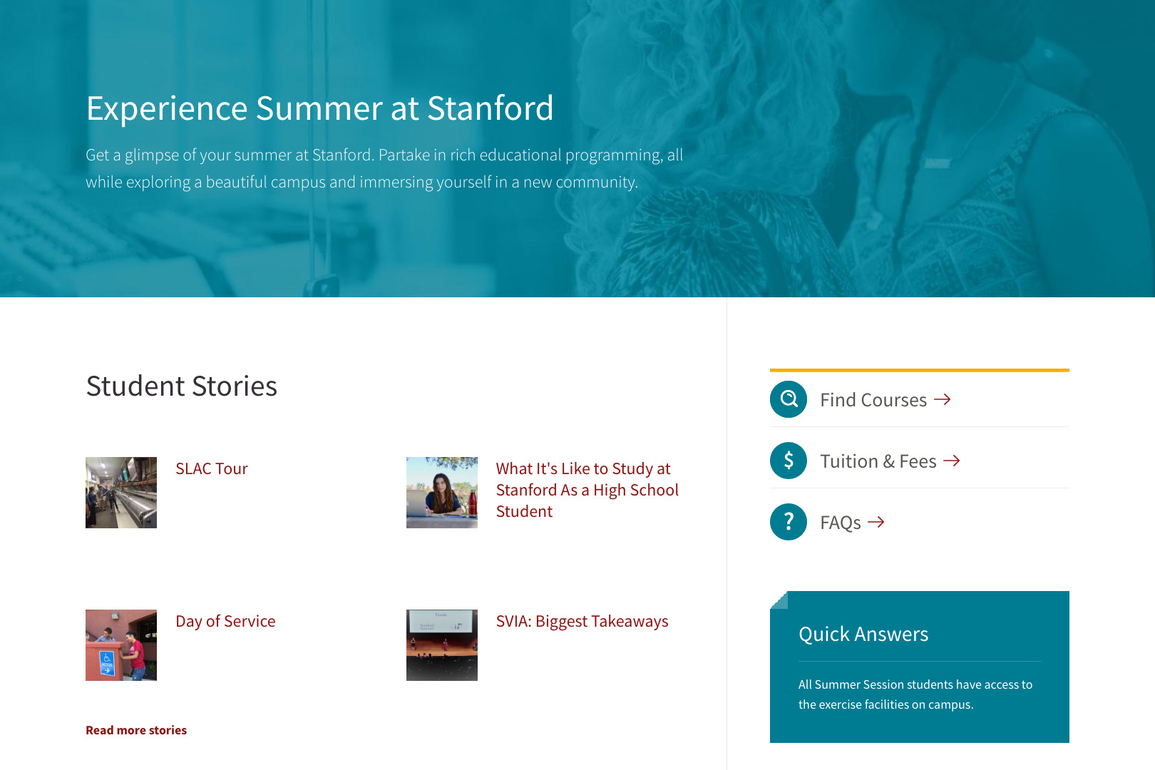A screenshot of the Stanford Summer Session Student Life page