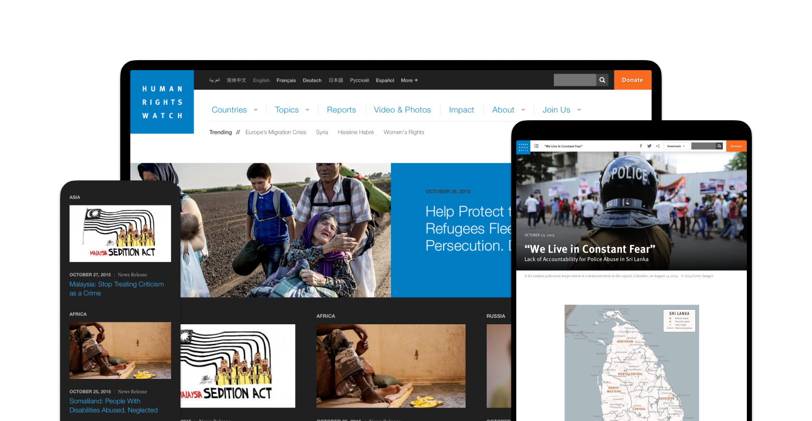 Screenshots of the Human Rights Watch site on a phone, tablet, and desktop screen.