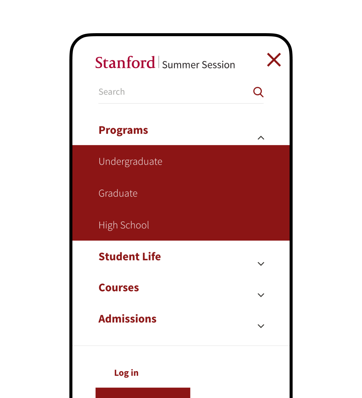 A screenshot of the Stanford Summer Session mobile navigation