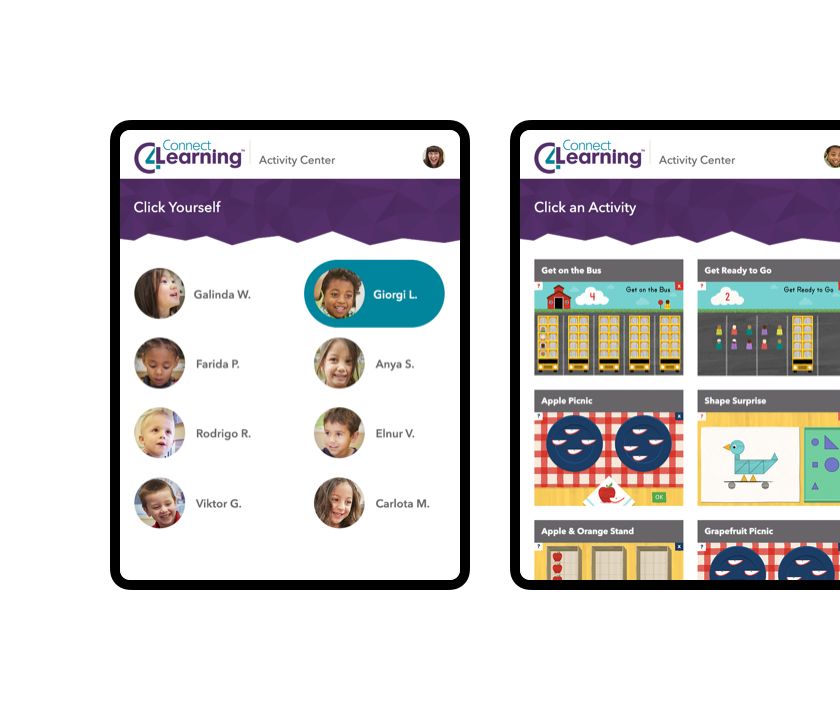 Screenshots of the Connect4Learning application as seen by students