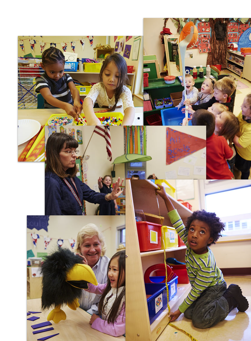 Photos of children in different learning activities