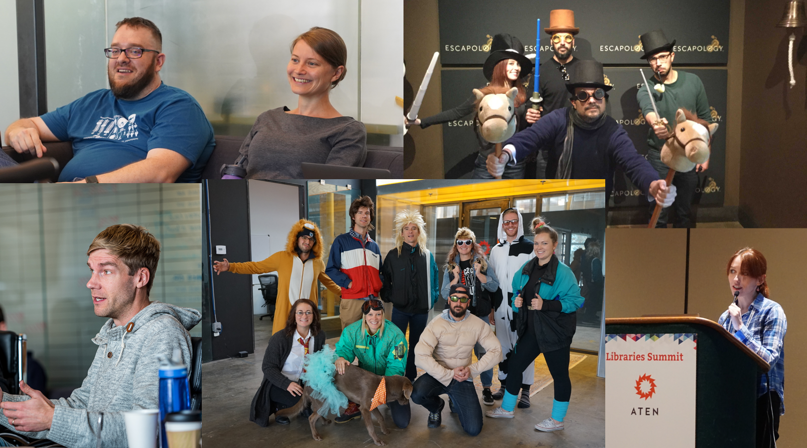 Photos of the Aten team at company summits, in Halloween costumes, and speaking at events.