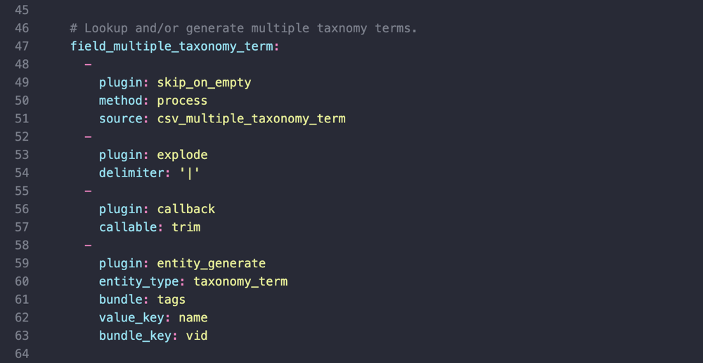 YAML configuration for import into field_multiple_taxonomy_term