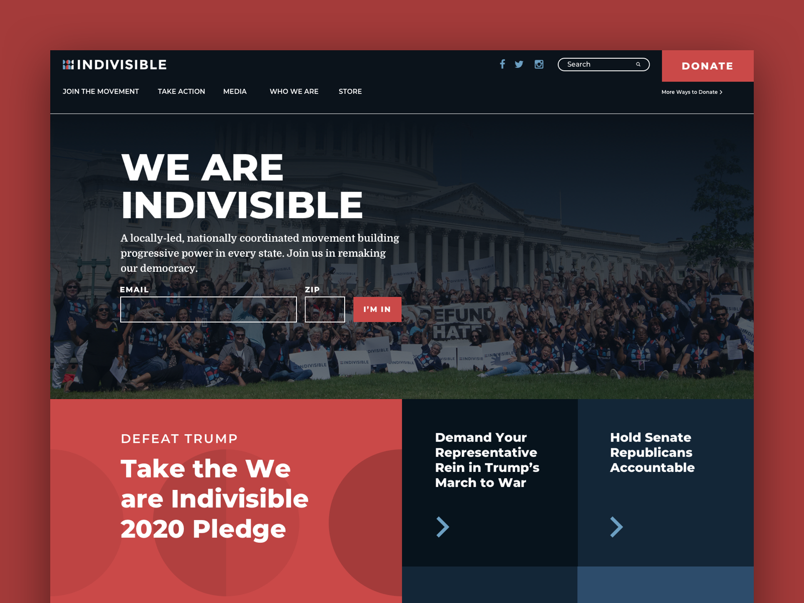 Indivisible.org homepage design