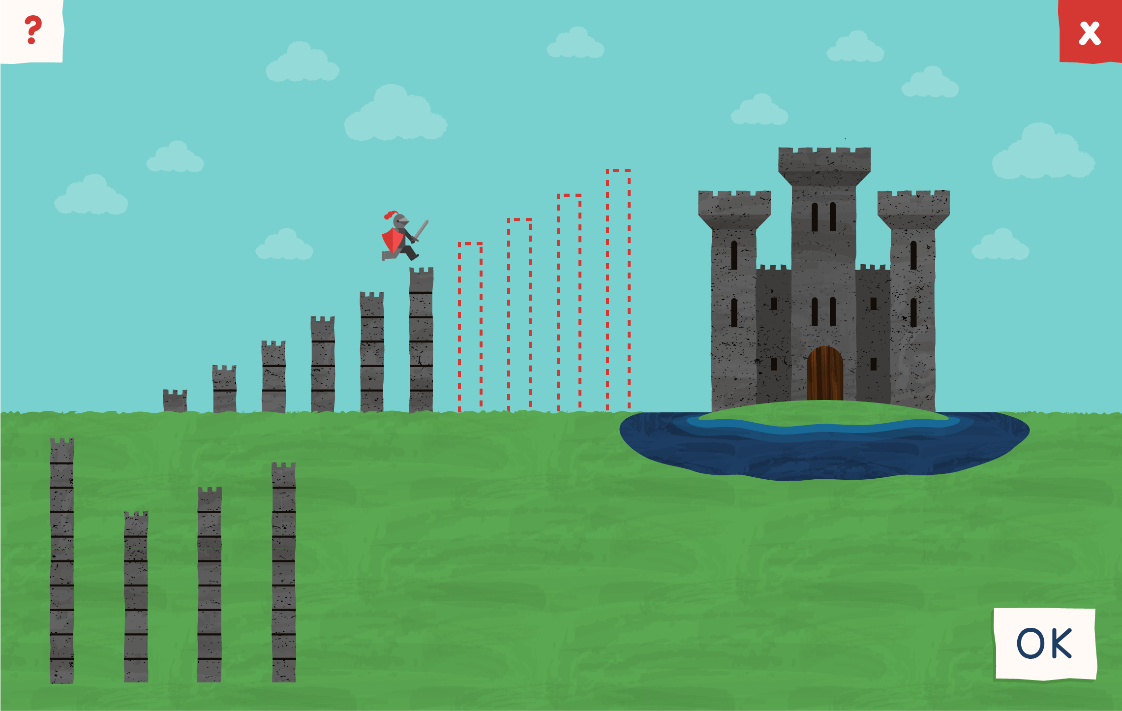 Connect4Learning's game screen with a castle, towers and knight