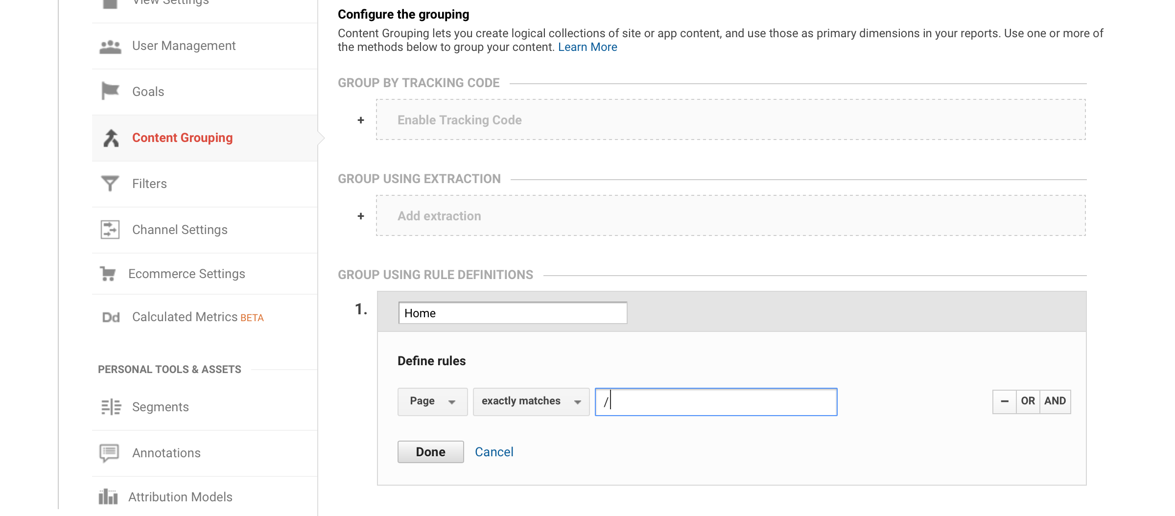 Google Analytics, Content Groupings