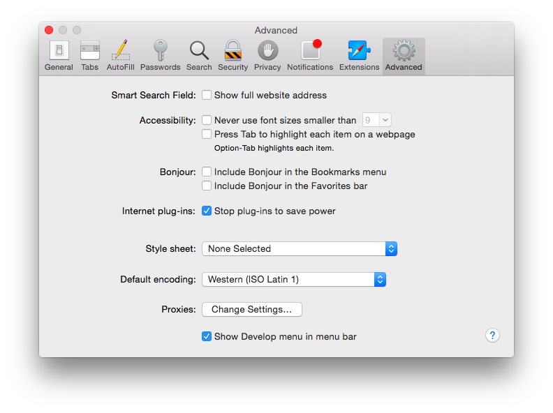 Turn on Develop menu in Safari preferences
