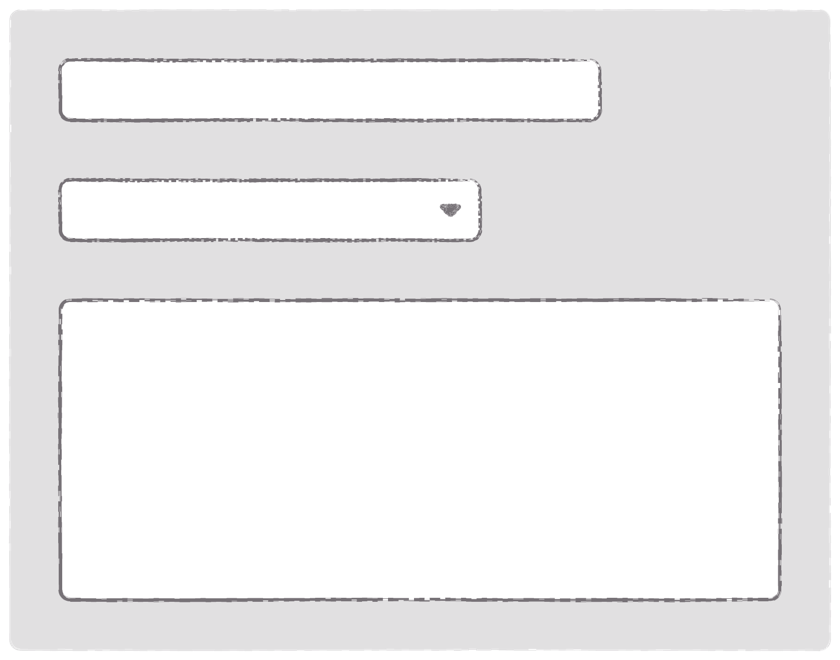 Simple form with input, select, and textarea