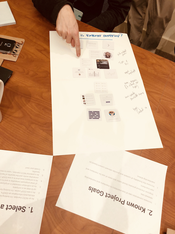 Working with NCEO on core page layouts using UX wireframe cards