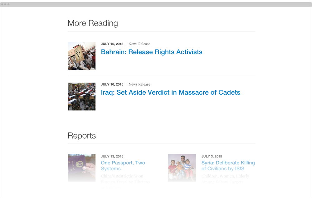 Example of related content on HRW.org